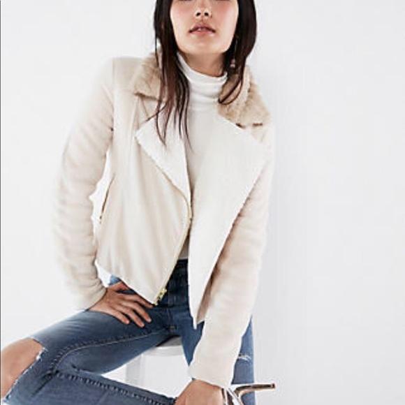 Express Jackets & Blazers - Express fleece crop Moto jacket